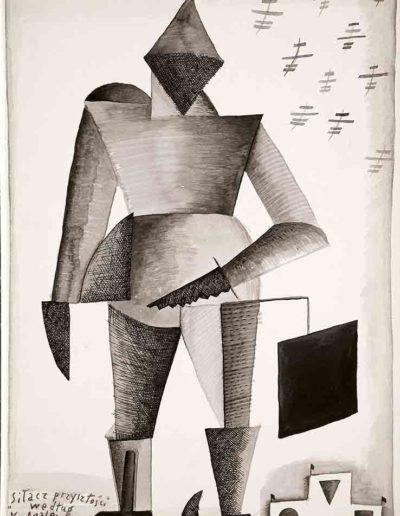 1987 Eugeniusz Józefowski , Siłacz przyszłości, rysunek tuszem na papierze akwarelowym naklejonym na tekturę, 23,5 x 34,5 cm