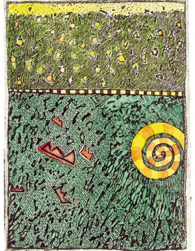 1987 Eugeniusz Józefowski, Spirala i korony, 8 x 6 cm, intaglio