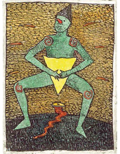 1987 Eugeniusz Józefowski, Taniec z trójkątem, 8 x 6 cm, intaglio