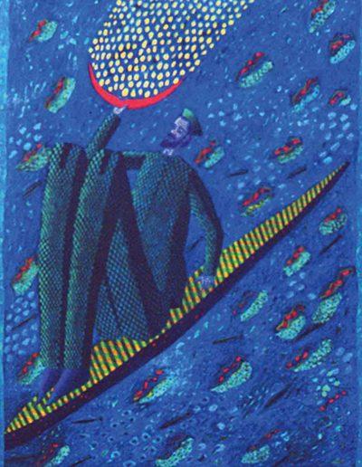 1988 Eugeniusz Józefowski, Na wąskiej łódce, olej na płótnie, 80 x 100 cm