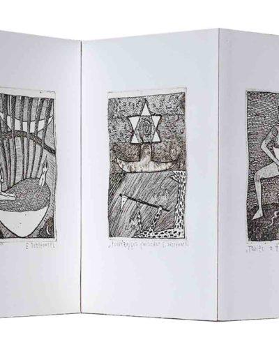 1988 Eugeniusz Józefowski, Rozmowy w wężem i inne historie, ksiązka harmonijkowa z 11 grafikami, format 11 x 15 x 1 cm, nakład 40 egzemplarzy 01