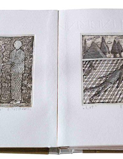 1988 Eugeniusz Józefowski, Rozmowy w wężem i inne historie, ksiązka harmonijkowa z 11 grafikami, format 11 x 15 x 1 cm, nakład 40 egzemplarzy 19