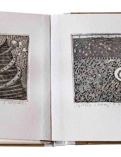 1988 Eugeniusz Józefowski, Rozmowy w wężem i inne historie, ksiązka harmonijkowa z 11 grafikami, format 11 x 15 x 1 cm, nakład 40 egzemplarzy 21
