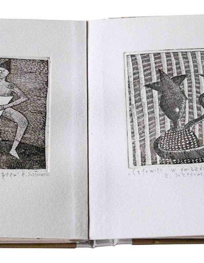 1988 Eugeniusz Józefowski, Rozmowy w wężem i inne historie, ksiązka harmonijkowa z 11 grafikami, format 11 x 15 x 1 cm, nakład 40 egzemplarzy 23