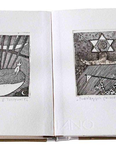1988 Eugeniusz Józefowski, Rozmowy w wężem i inne historie, ksiązka harmonijkowa z 11 grafikami, format 11 x 15 x 1 cm, nakład 40 egzemplarzy 25