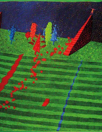 1989 Eugeniusz Józefowsk, Schody i drzewa, olej na płótnie, 90 x 70 cm