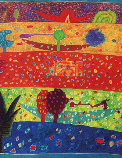 1989 Eugeniusz Józefowski, Drzewo o błazeńskiej koronie i cztery łodzie, olej na płótnie, 100 x 81
