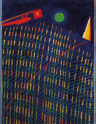 1989 Eugeniusz Józefowski, Pierwszy spacer pasterza traw, olej na płótnie, 41 x 55 cm
