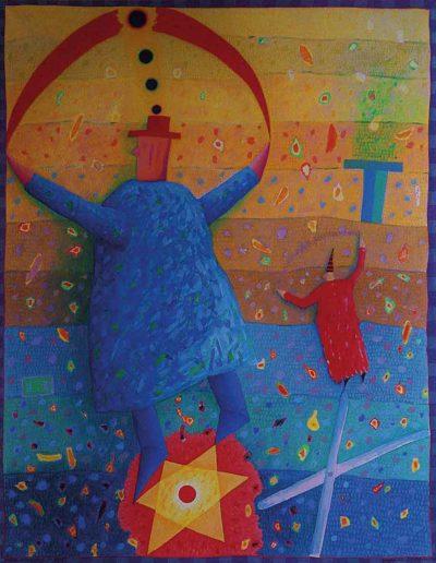 1989 Eugeniusz Józefowski, Podnieśmy ręce w górę, olej na płótnie, 70 x 90 cm