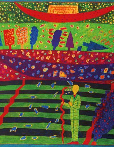 1989 Eugeniusz Józefowski, Rozmowa z wężem na zielonych schodach, olej na płótnie, 90 x 70 cm