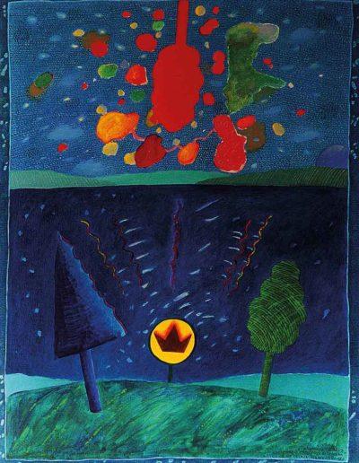 1989 Eugeniusz Józefowski, Sakasvaraczakra pomiędzy drzewami, olej na płótnie, 41 x 55 cm