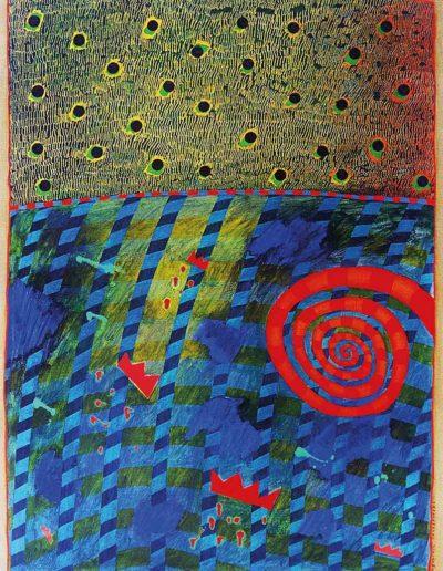 1989 Eugeniusz Józefowski, Spirala i korony, olej na płótnie, 41 x 55 cm a