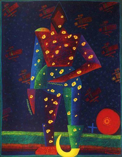 1989 Eugeniusz Józefowski, Trędowaty od słońca dla Kazimierza Malewicza, olej na płótnie, 70 x 90 cm