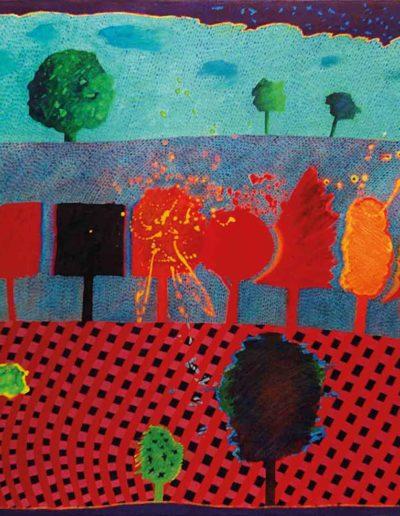 1989 Eugeniusz Józefowski, Trzy opowieści o drzewach, olej na płótnie, 90 x 70 cm