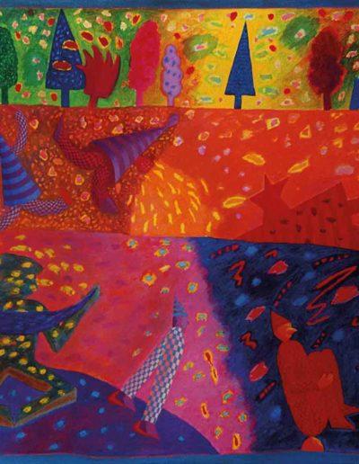 1989 Eugeniusz Józefowski, Trzy zmysłowe opowieści, olej na płótnie, 90 x 70 cm