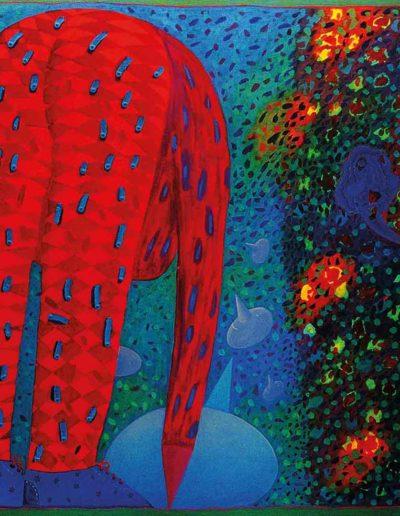 1989 Eugeniusz Józefowski, Ukłon w poszukiwaniu głowy, olej na płótnie, 100 x 80 cm