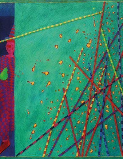 1989 Eugeniusz Józefowski, Zabawa z kijem , olej na płótnie, 90 x 70 cm