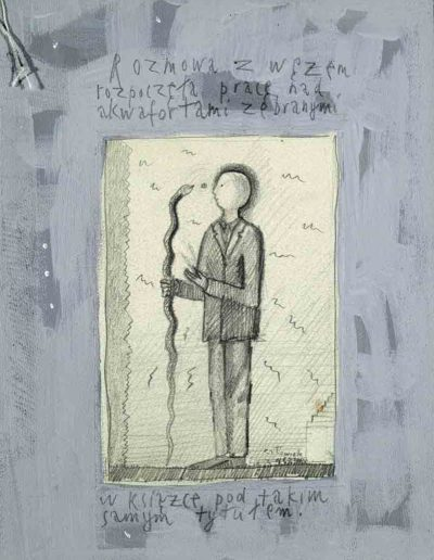 1989_1999 Eugeniusz Józefowski, Książki ze szkicowników - paryskiego i wiesbadeńskiegounikat jednoegzemplarzowy,kartki ze szkicownika naklejone na tekturę_1