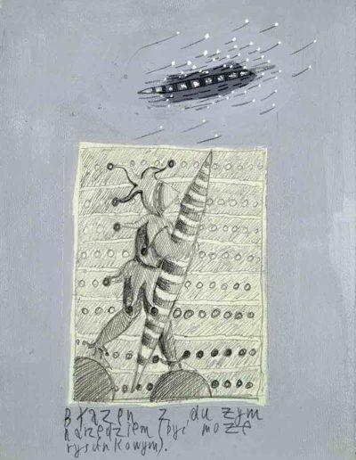 1989_1999 Eugeniusz Józefowski, Książki ze szkicowników - paryskiego i wiesbadeńskiegounikat jednoegzemplarzowy,kartki ze szkicownika naklejone na tekturę_10