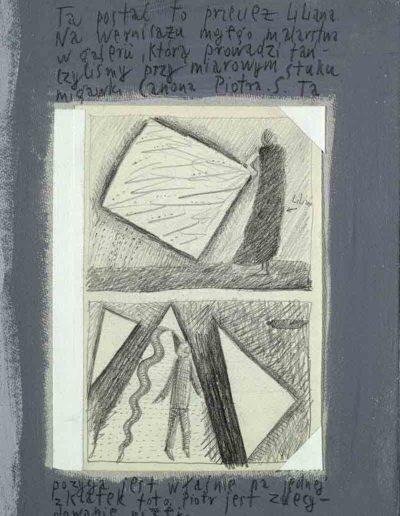 1989_1999 Eugeniusz Józefowski, Książki ze szkicowników - paryskiego i wiesbadeńskiegounikat jednoegzemplarzowy,kartki ze szkicownika naklejone na tekturę_18