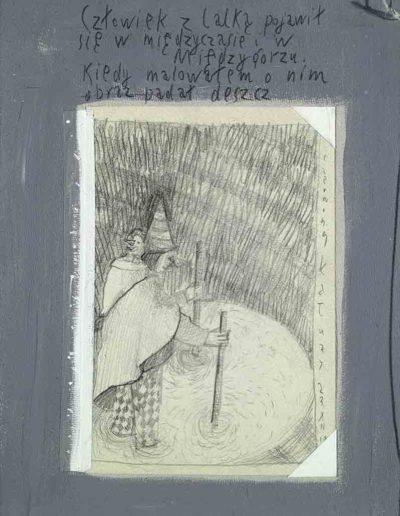 1989_1999 Eugeniusz Józefowski, Książki ze szkicowników - paryskiego i wiesbadeńskiegounikat jednoegzemplarzowy,kartki ze szkicownika naklejone na tekturę_19