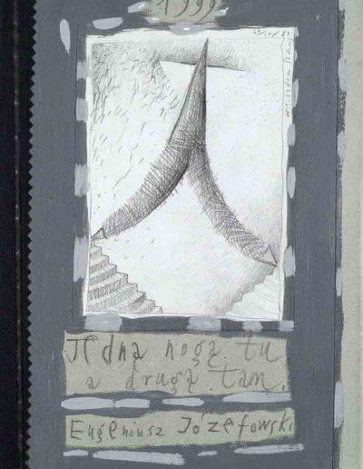 1989_1999 Eugeniusz Józefowski, Książki ze szkicowników - paryskiego i wiesbadeńskiegounikat jednoegzemplarzowy,kartki ze szkicownika naklejone na tekturę_24