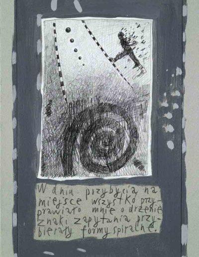 1989_1999 Eugeniusz Józefowski, Książki ze szkicowników - paryskiego i wiesbadeńskiegounikat jednoegzemplarzowy,kartki ze szkicownika naklejone na tekturę_25
