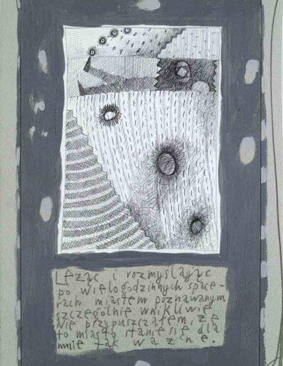 1989_1999 Eugeniusz Józefowski, Książki ze szkicowników - paryskiego i wiesbadeńskiegounikat jednoegzemplarzowy,kartki ze szkicownika naklejone na tekturę_27