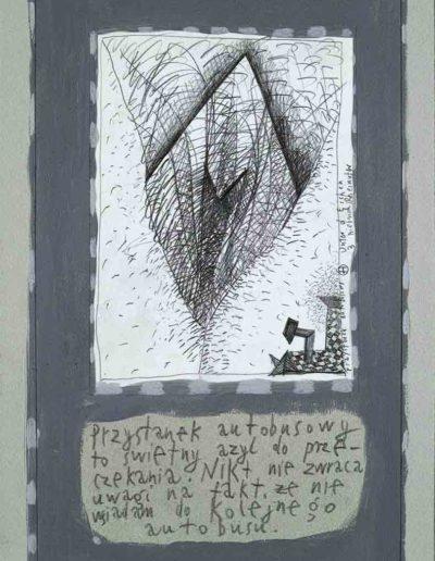 1989_1999 Eugeniusz Józefowski, Książki ze szkicowników - paryskiego i wiesbadeńskiegounikat jednoegzemplarzowy,kartki ze szkicownika naklejone na tekturę_29