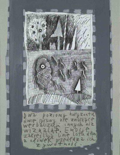 1989_1999 Eugeniusz Józefowski, Książki ze szkicowników - paryskiego i wiesbadeńskiegounikat jednoegzemplarzowy,kartki ze szkicownika naklejone na tekturę_34