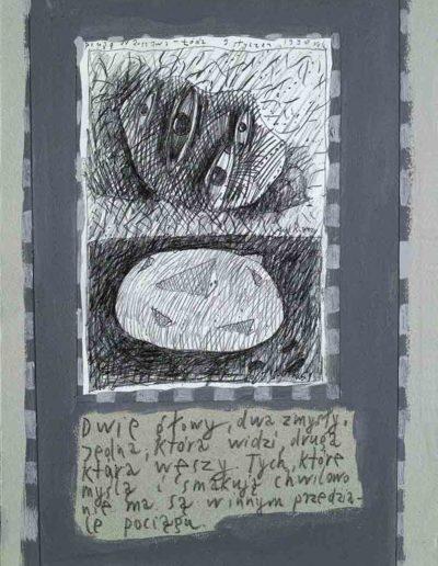 1989_1999 Eugeniusz Józefowski, Książki ze szkicowników - paryskiego i wiesbadeńskiegounikat jednoegzemplarzowy,kartki ze szkicownika naklejone na tekturę_35