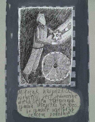 1989_1999 Eugeniusz Józefowski, Książki ze szkicowników - paryskiego i wiesbadeńskiegounikat jednoegzemplarzowy,kartki ze szkicownika naklejone na tekturę_38