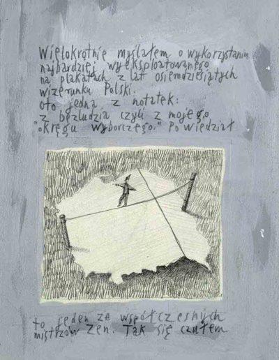 1989_1999 Eugeniusz Józefowski, Książki ze szkicowników - paryskiego i wiesbadeńskiegounikat jednoegzemplarzowy,kartki ze szkicownika naklejone na tekturę_4