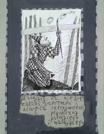 1989_1999 Eugeniusz Józefowski, Książki ze szkicowników - paryskiego i wiesbadeńskiegounikat jednoegzemplarzowy,kartki ze szkicownika naklejone na tekturę_42