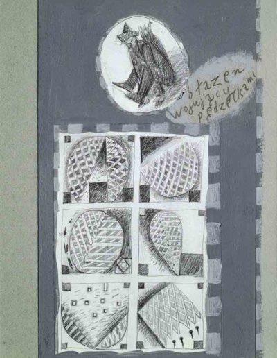 1989_1999 Eugeniusz Józefowski, Książki ze szkicowników - paryskiego i wiesbadeńskiegounikat jednoegzemplarzowy,kartki ze szkicownika naklejone na tekturę_45