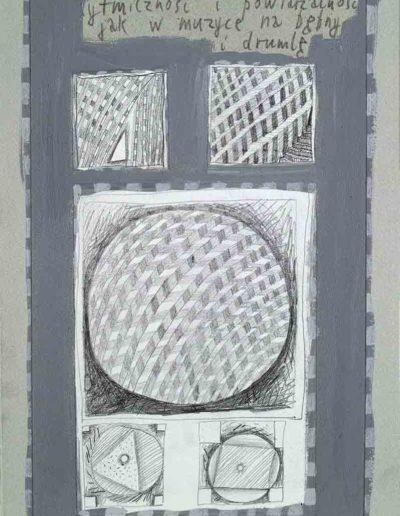 1989_1999 Eugeniusz Józefowski, Książki ze szkicowników - paryskiego i wiesbadeńskiegounikat jednoegzemplarzowy,kartki ze szkicownika naklejone na tekturę_46