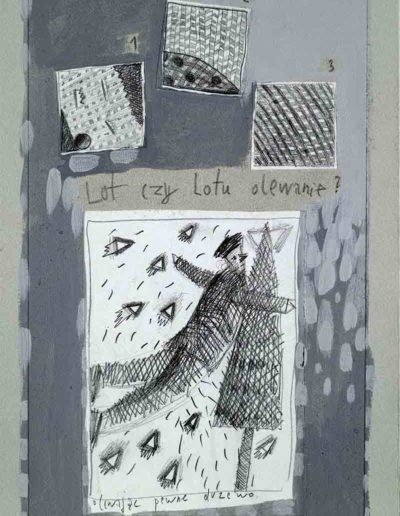 1989_1999 Eugeniusz Józefowski, Książki ze szkicowników - paryskiego i wiesbadeńskiegounikat jednoegzemplarzowy,kartki ze szkicownika naklejone na tekturę_47