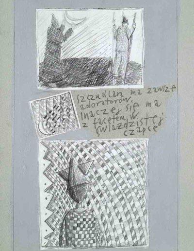 1989_1999 Eugeniusz Józefowski, Książki ze szkicowników - paryskiego i wiesbadeńskiegounikat jednoegzemplarzowy,kartki ze szkicownika naklejone na tekturę_48
