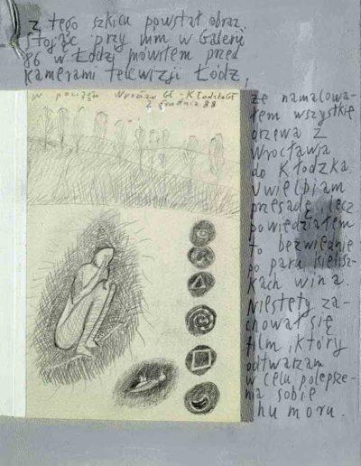 1989_1999 Eugeniusz Józefowski, Książki ze szkicowników - paryskiego i wiesbadeńskiegounikat jednoegzemplarzowy,kartki ze szkicownika naklejone na tekturę_6