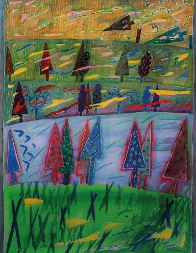 1990 1991 Eugeniusz Józefowski, Pejzaż pięcioplanowy, akwarela na papierze 66 x 90 cm