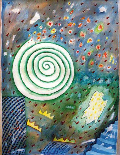 1990 1991 Eugeniusz Józefowski, Pięć liści mlecza, akwarela na papierze, 66 x 90 cm