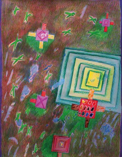1990 1991 Eugeniusz Józefowski, Znaki na trawie, akwarela na papierze, 66 x 90 cm