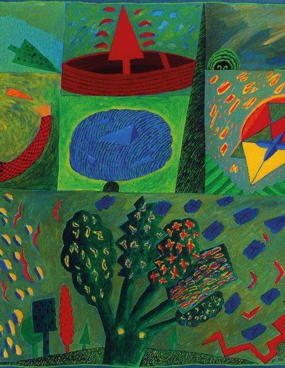 1990 Eugeniusz Jó zefowski, Drzewo pieciopalczaste, olej na płótnie, 100 x 81 cm