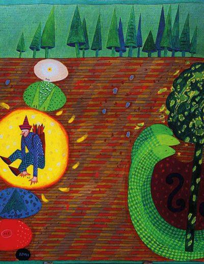 1990 Eugeniusz Józefowski, Drzewa i węże po raz drugi, olej na płótnie, 90 x 70 cm
