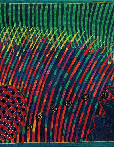 1990 Eugeniusz Józefowski, Kwadrat, koło i wachlarz ze schodów, olej na płótnie 38 x 33 cm
