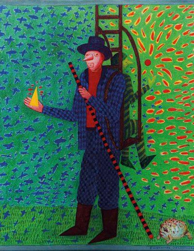 1990 Eugeniusz Józefowski, Międzygórski wędrowca, akryl na płótnie, 33 x 38 cm