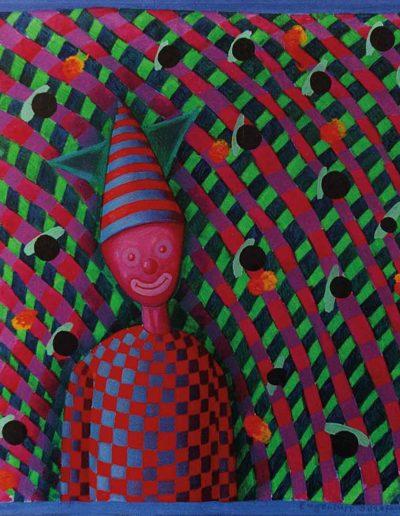 1990 Eugeniusz Józefowski, Pajac z uśmiechniętym ryjem, olej na płótnie, 25 x 25 cm