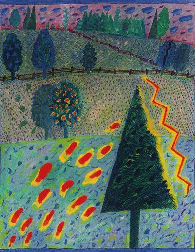 1990 Eugeniusz Józefowski, Pejzaż z jarzębiną, akryl na płótnie, 33 cm x 41 cm