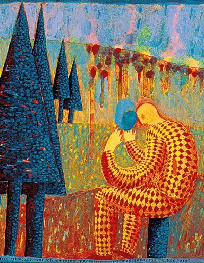 1990 Eugeniusz Józefowski, Refleksyjna i pełna nieoczekiwanych zwrotów rozmowa z wyimaginowanym partnerem, 33 x 38 cm akryl
