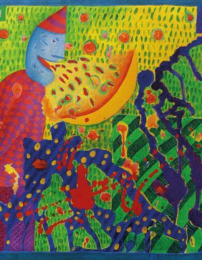 1990 Eugeniusz Józefowski, Słowne torsje 25 x 25 cm olej